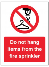 Do not hang items from fire sprinkler