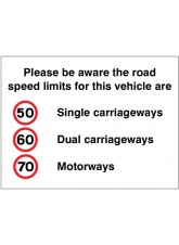 Please Be Aware the Road Speed Limits for this Vehicle Are 50 -60 -70mph