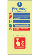 EasiFIX Fire Action - In the event of a fire - lift the cover and activate alarm