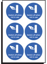 6 x Switch Off When Not in Use Labels - 65mm Diameter