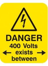 Danger 400 Volts <-exists Between->