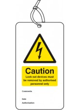 Lockout Tag - Lock Out Device Must be Removed By - 80 x 150mm (Pack of 10)