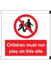 Scaffold Banner - Children Must Not Play on this Site (with Loops)