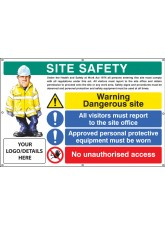 Site Safety, Dangerous Site, Visitors, PPE, Access, Custom - Banner with Eyelets - 1270 x 810mm