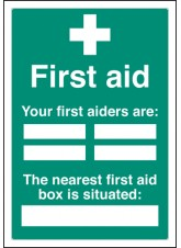 First Aiders the Nearest First Aid Box Is Situated - Adapt-a-Sign