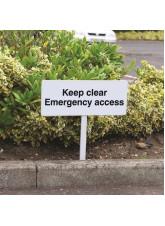 Keep Clear Emergency Access - White Powder Coated Aluminium - 450 x 150mm (800mm Post)