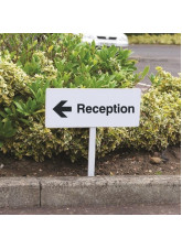 Reception Left - White Powder Coated Aluminium - 450 x 150mm (800mm Post)