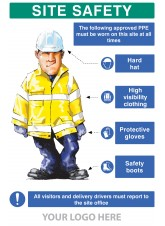 PPE Requirement Sign (Hat -Hivis -Gloves -Boots)