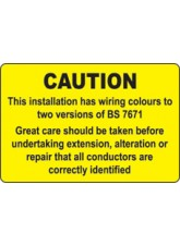 Roll of 100 This Installation Has Wiring Colours Etc Labels - 75 x 50mm