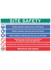 Site Safety Board - hard hat, hivis, boots, 10mph