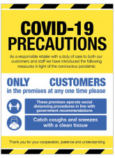 COVID 19 Precautions - 1m / 2m / Generic Distance Options - Yellow