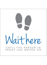 Wait here until person in front has moved on - Floor Graphic